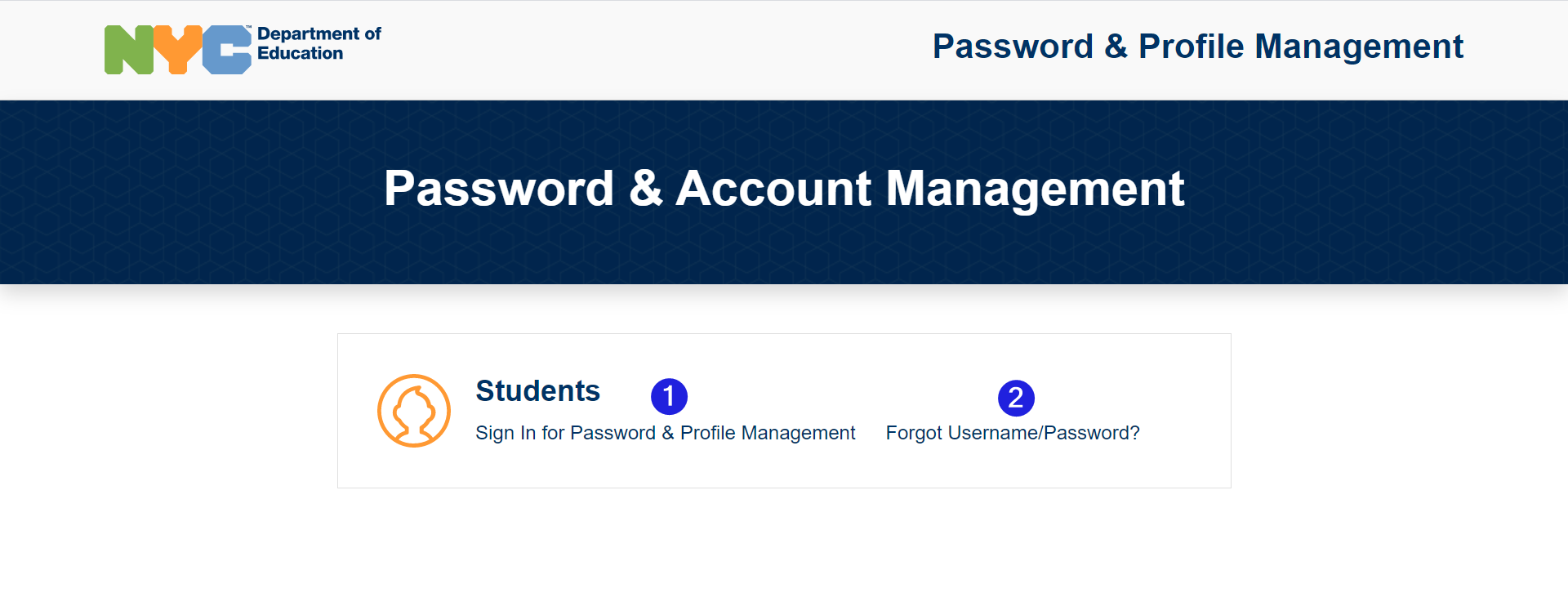 main screen with sign in notated on center left, and forgot username/password center right