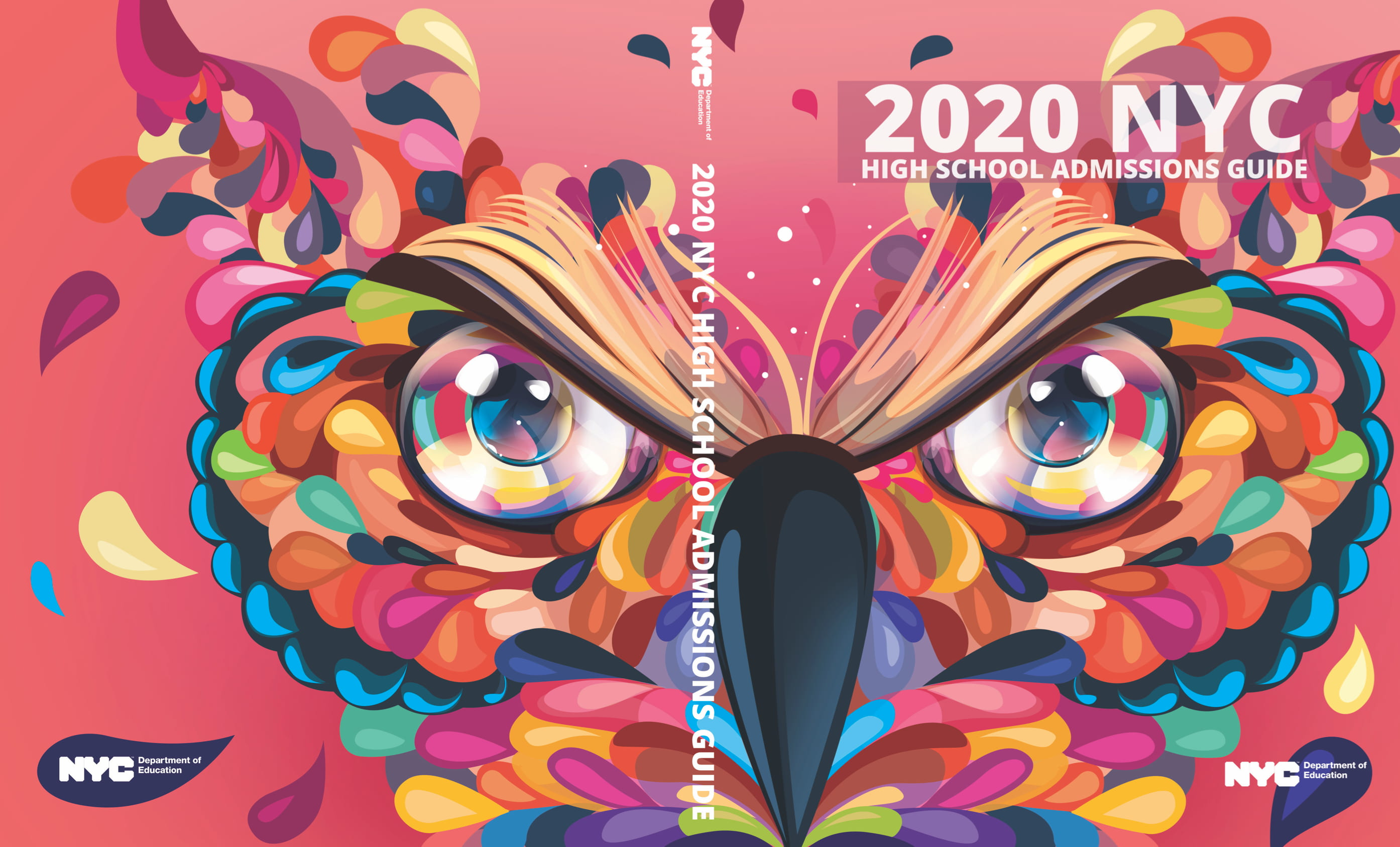 The cover showcases the head of an owl made up of freeform shapes and bright colors. The owl's head is spread across both the cover and the back cover, with the beak and middle of his brow on the spine. The owl's brow is also the representing the pages of an open book.