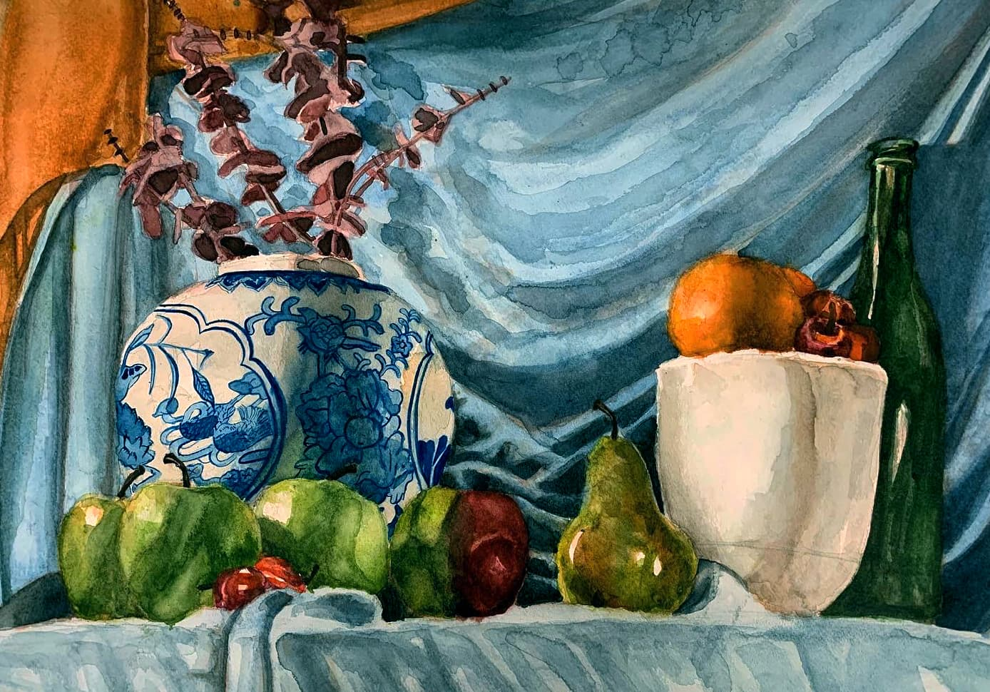 Still Life of a glass bottle, a vase, and some fruit