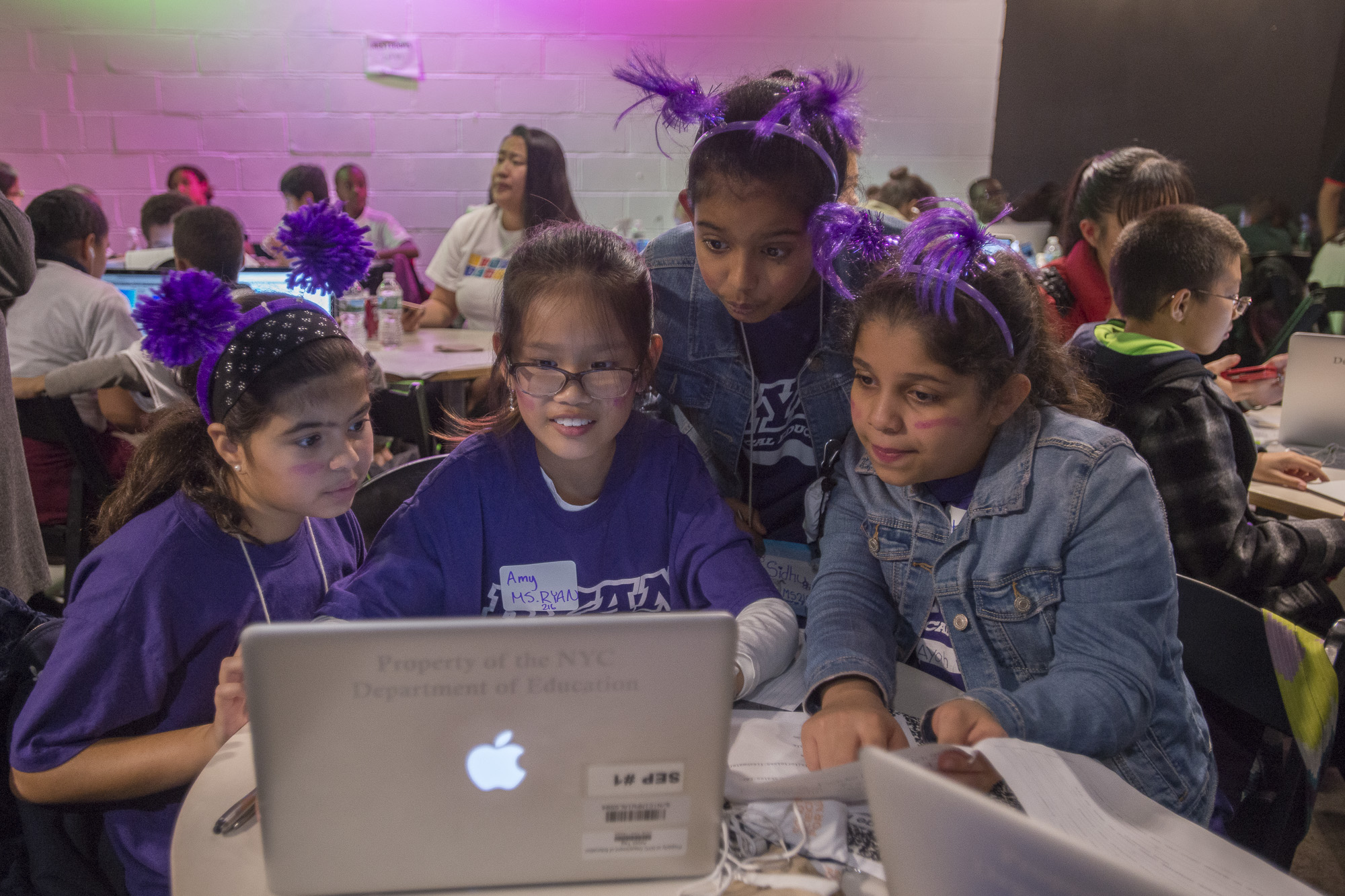 Girls at a Computer Science Hackathon