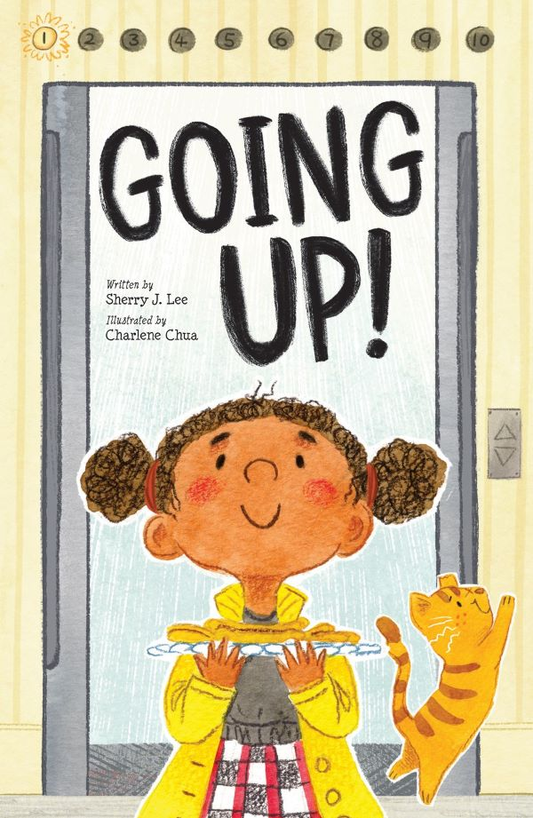 Book cover for Going Up by Sherry J. Lee, depicts little girl standing in front of elevator smiling