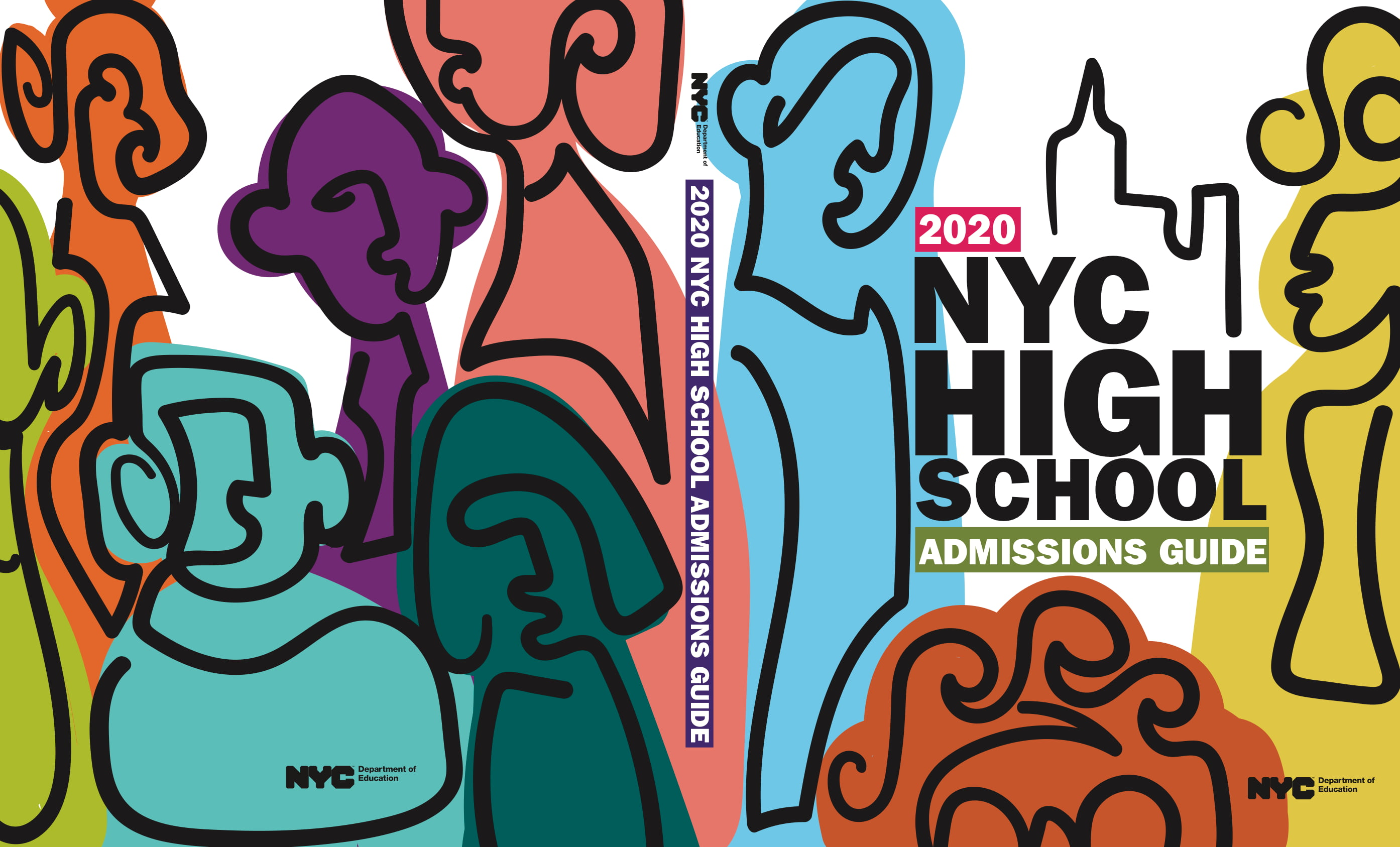 The cover showcases three abstract figures of people with the NYC skyline represented by a single black line in the background. The back cover six different figures in different, colors and sizes.