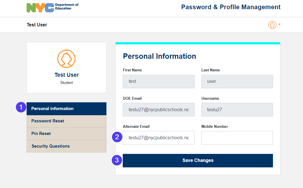 personal profile fields highlighted with bubbles