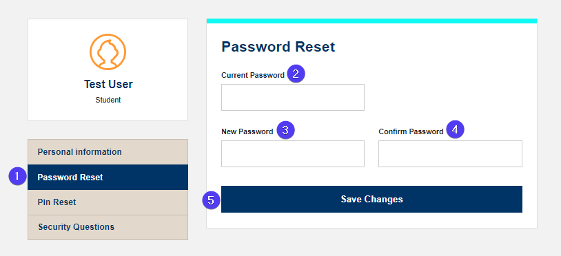 password reset screen fields highlighted with bubbles