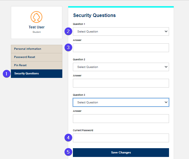 security questions screen fields highlighted with bubbles. moves from top to bottom