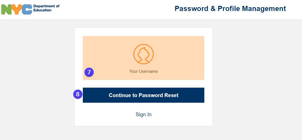 continue to password reset screen