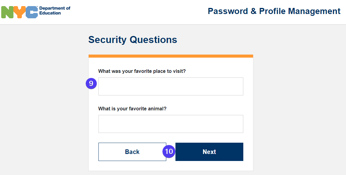 security question screen fields highlighted
