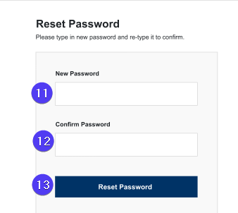 create and confirm new password screen fields highlighted with bubbles