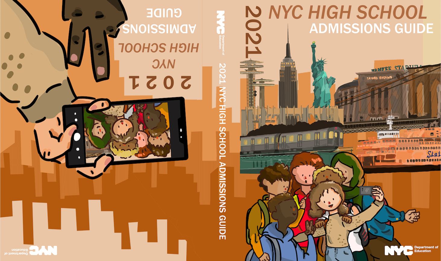 This cover design was the grand prize winner of the 2020 Cover Design Challenge. It shows the image of six students posing for a group selfie in front of NYC landmarks.