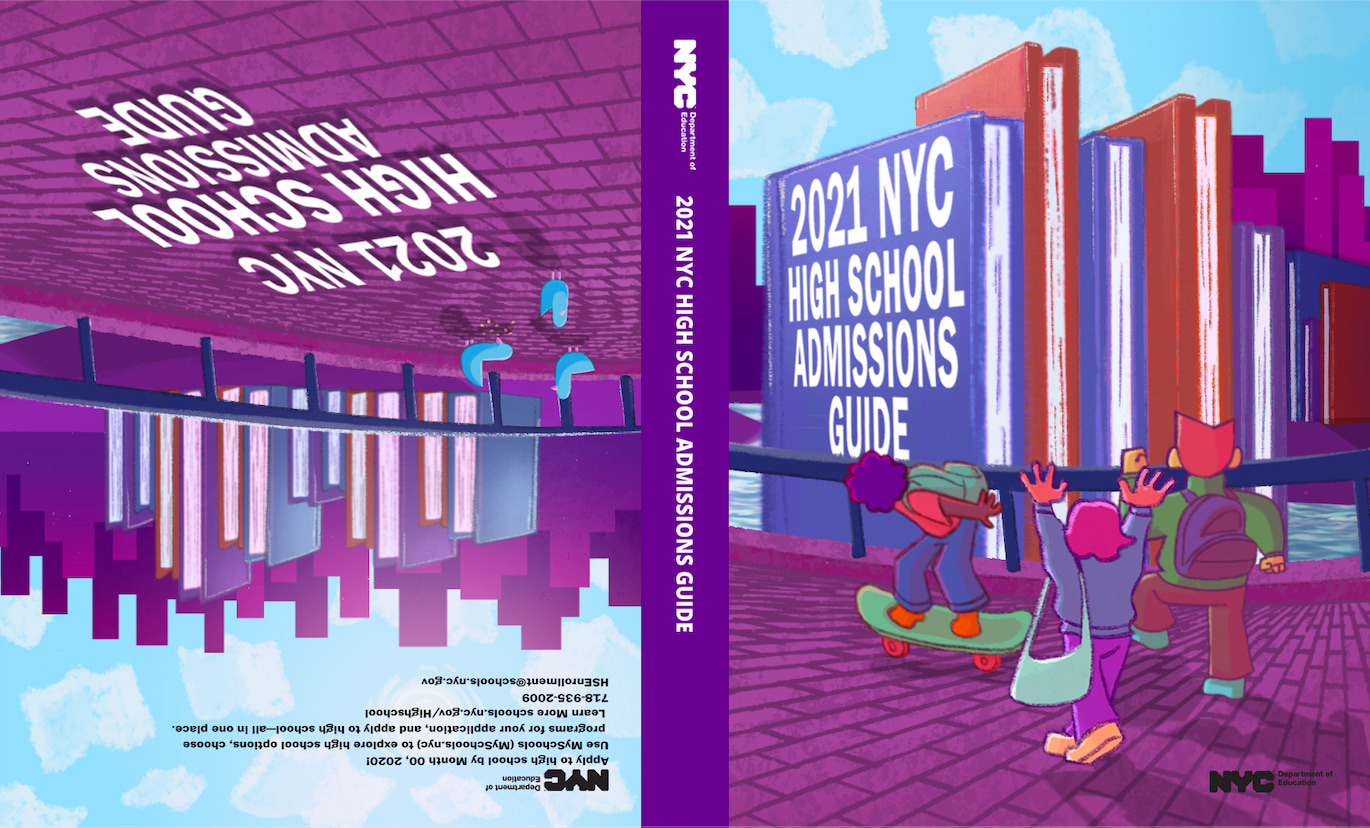 This cover design was the public vote winner of the 2020 Cover Design Challenge. It shows the image of three students on a NYC street walking among the buildings.