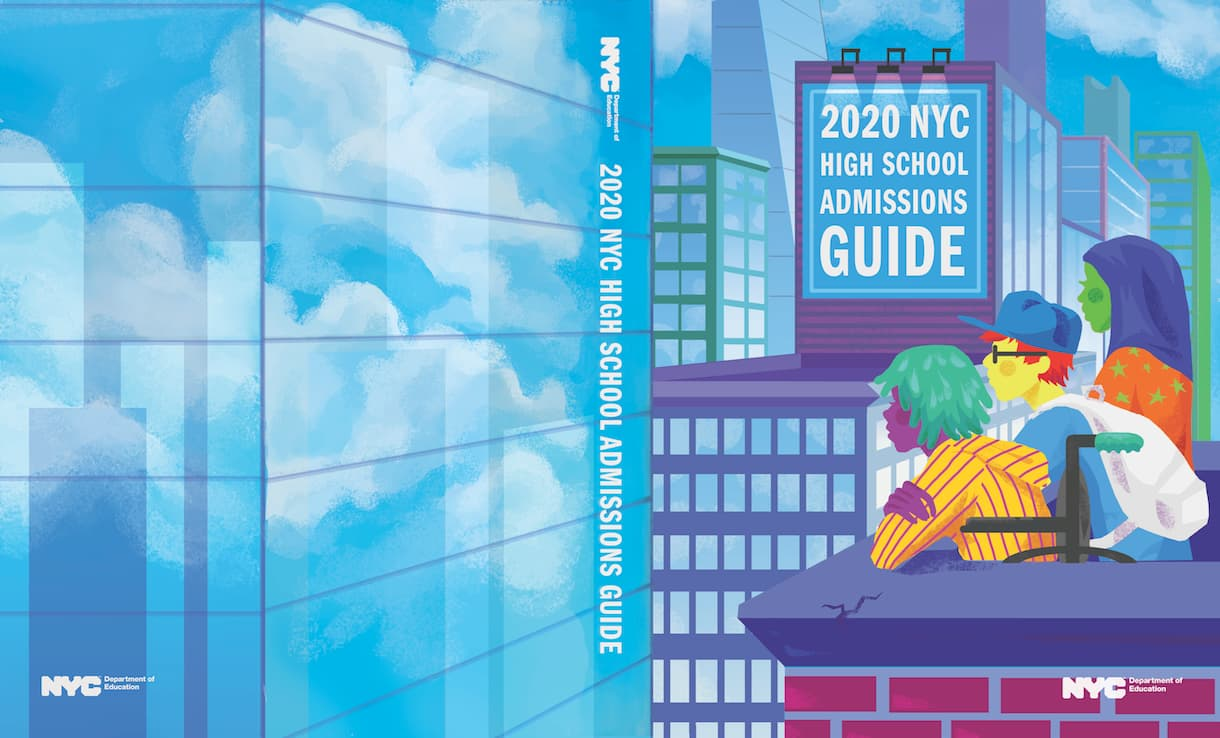 This cover design was the grand prize winner of the 2019 Cover Design Challenge. It shows the image of three students on a NYC rooftop looking out on the city.