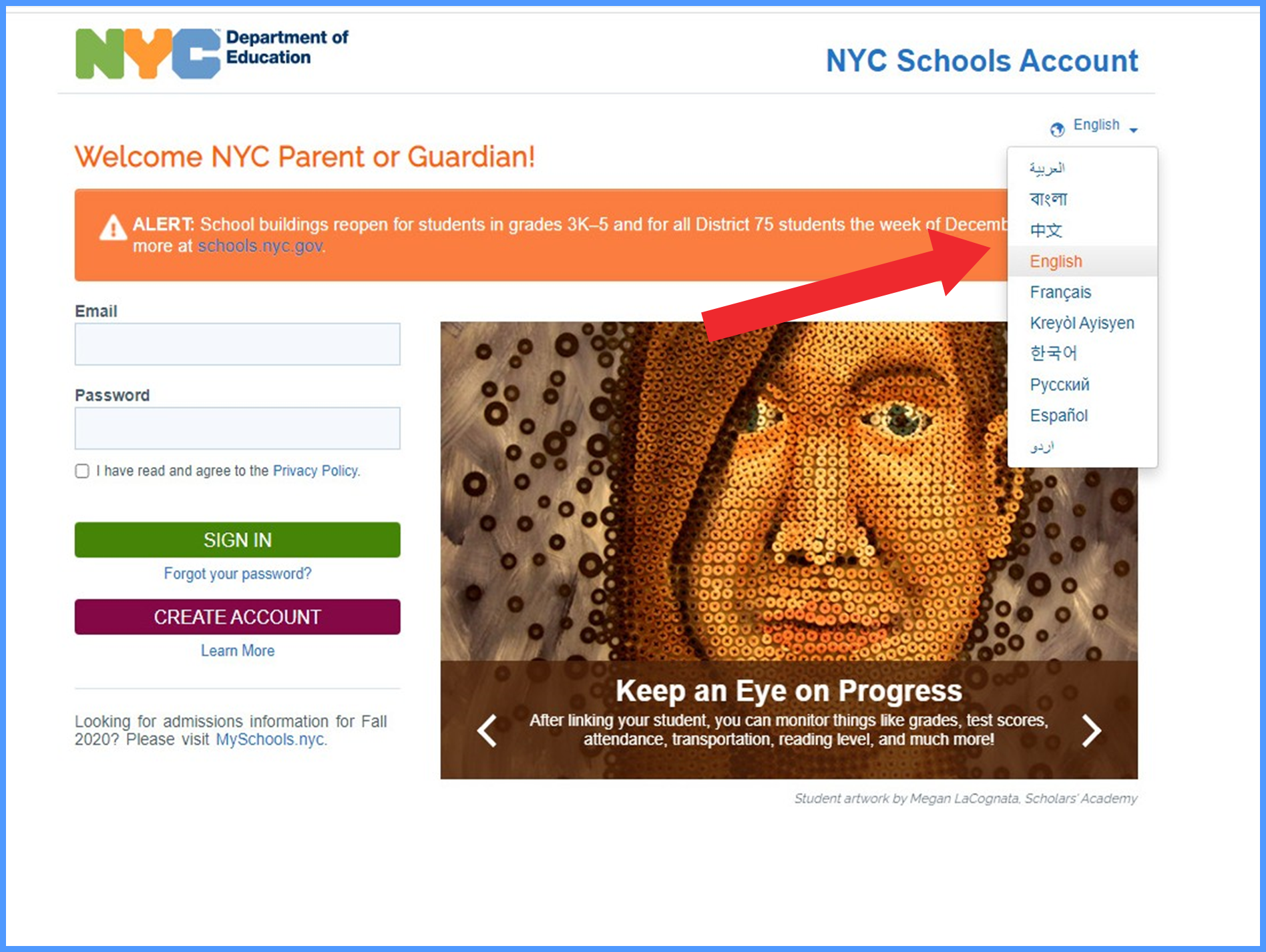 NYC School account log in page with translations drop down menu