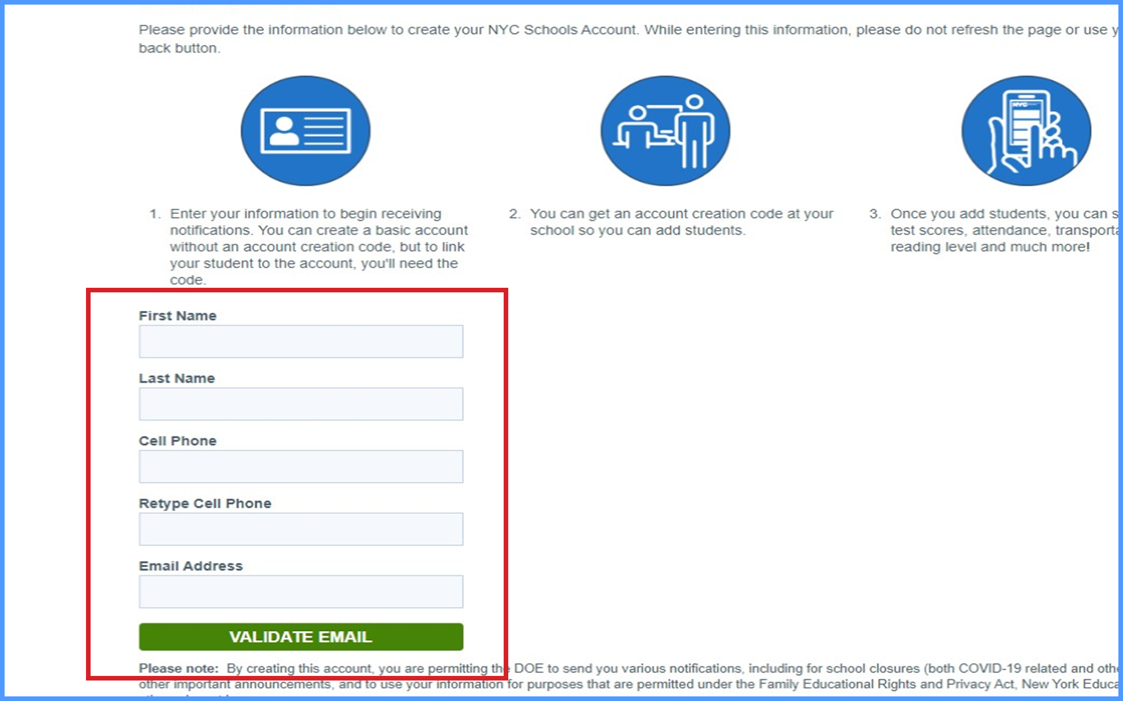 """Create account page with information block squared in """"red"""""""