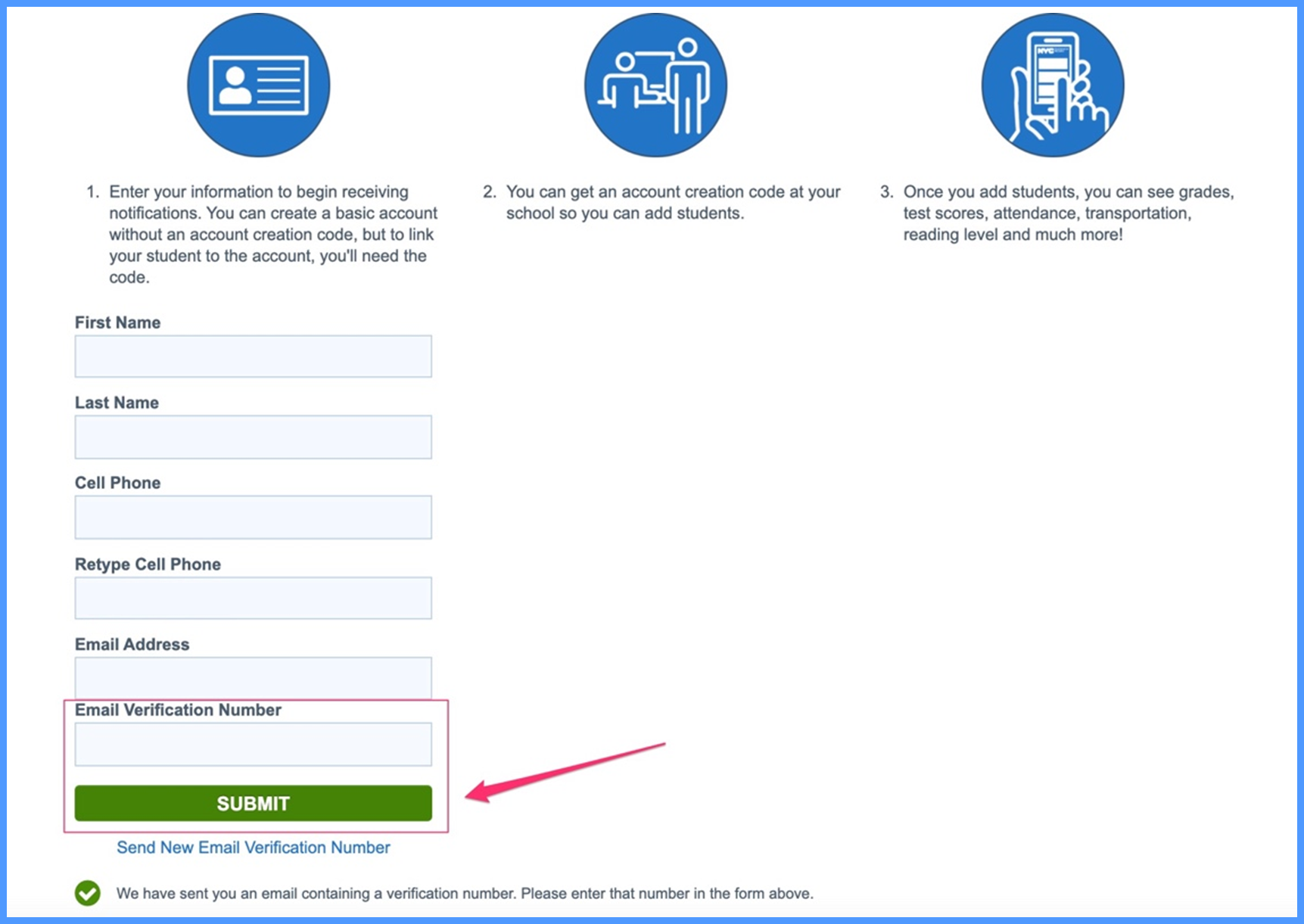 """Information page with """"email verification number"""" box squared in red"""