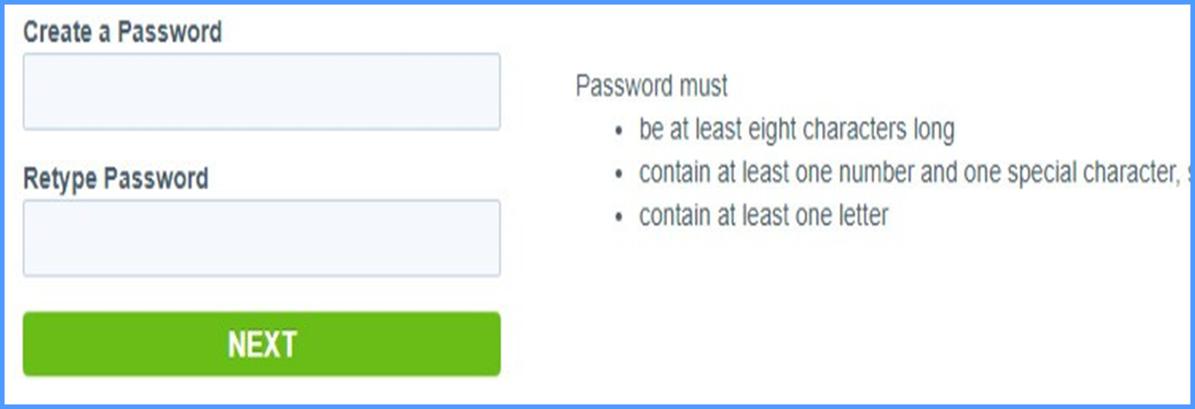 Create password page