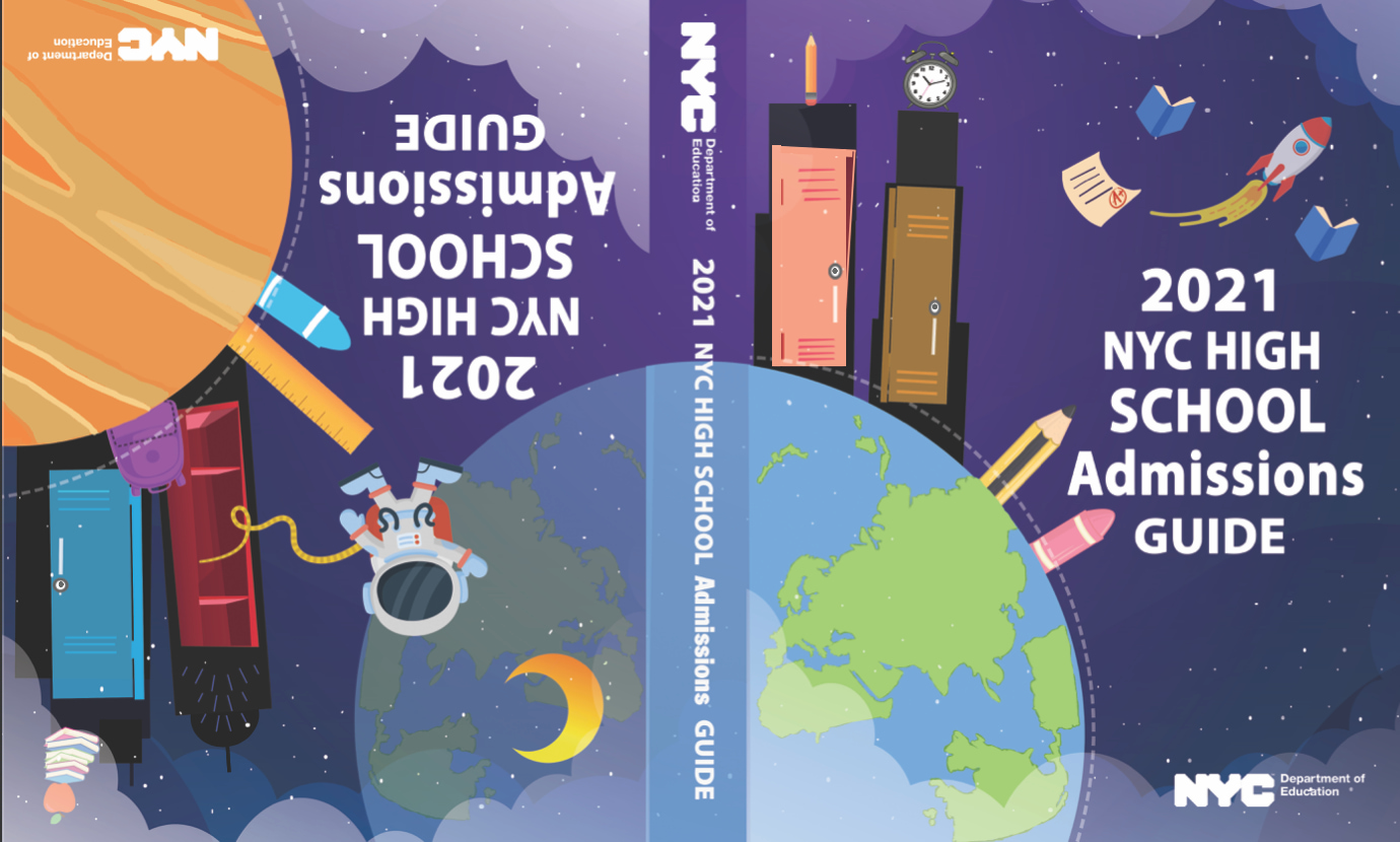 This cover design features the planet earth surrounded by an astronaut, the moon, lockers shaped like skyscrapers, pencils, and crayons.
