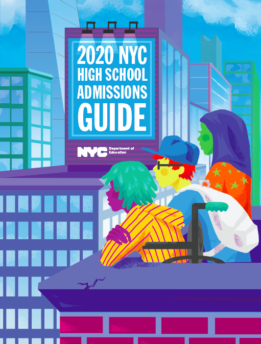 Cover of the print 2020 NYC High School Admissions Guide, featuring three high school students gazing at the city from the terrace or roof of a building.