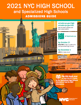 Cover of the print 2021 NYC High School Admissions Guide, featuring three high school students taking a photo together.