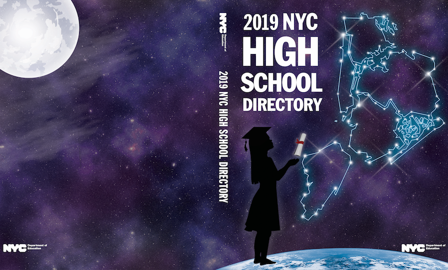 This cover design features a silhouetted young girl reaching for a diploma as she stands on top of Earth with outer space all around her and the boroughs of New York City represented as constellations above her. The back cover features a glowing moon.
