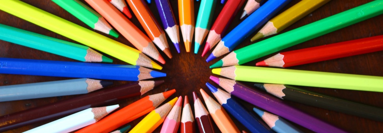 Colored pencils forming a circle