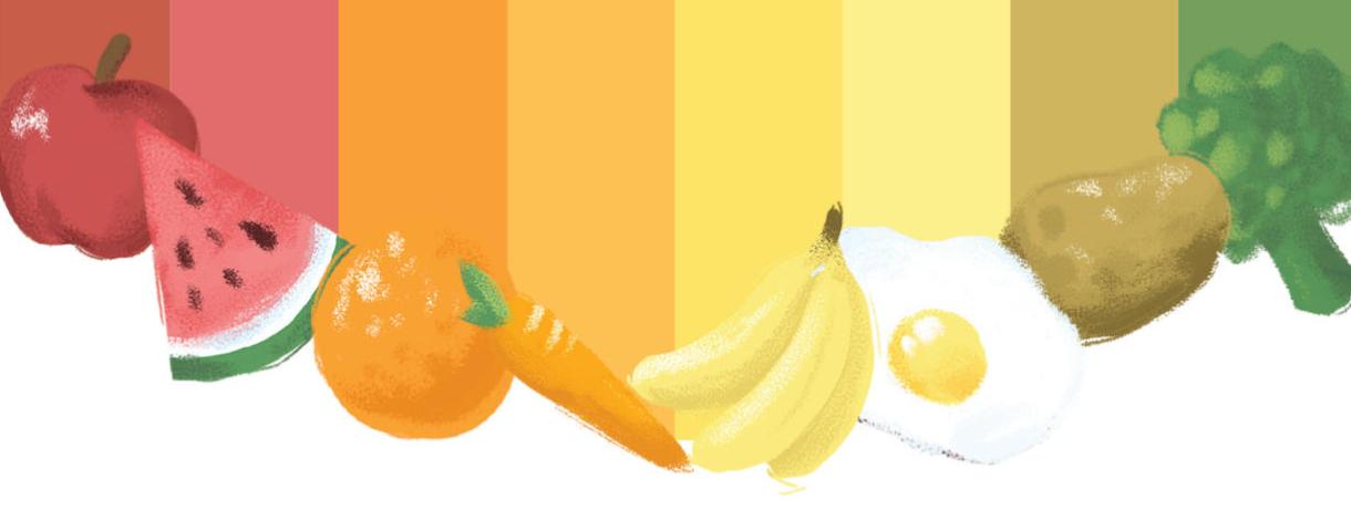 Illustration of a rainbow of food featuring an apple, watermelon, orange, carrot, banana, egg, potato, broccoli