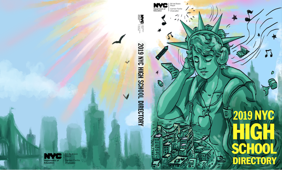 This cover shows a non-binary Statue of Liberty listening to music on headphones and watching over the city below. Music notes and birds fill the sky. On the back cover, a rendering of the skyline extends across.