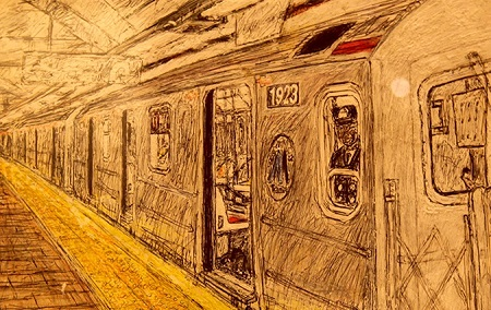 Student drawing of NYC subway train