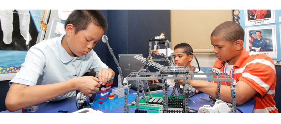 Students working on Lego Robotics