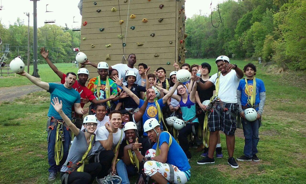 Young Adult Borough Center group at climbing wall